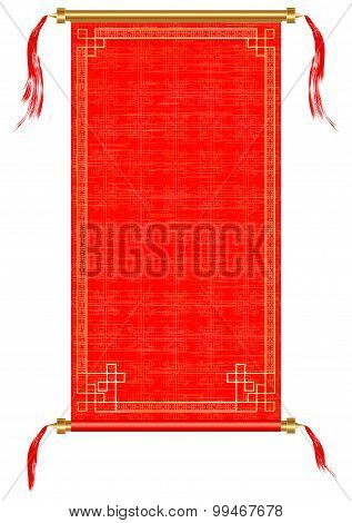 Asian Scroll, Red And Gold Ornaments