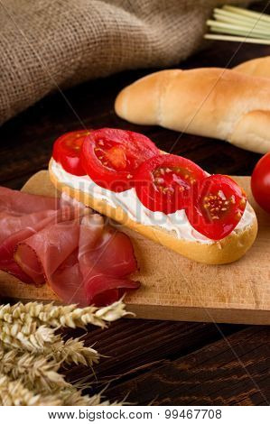 Fresh Baguette With Cottage Cheese And Tomatoes