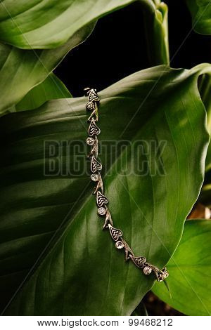 A silver wristband with diamonds layung on a green leaf on black
