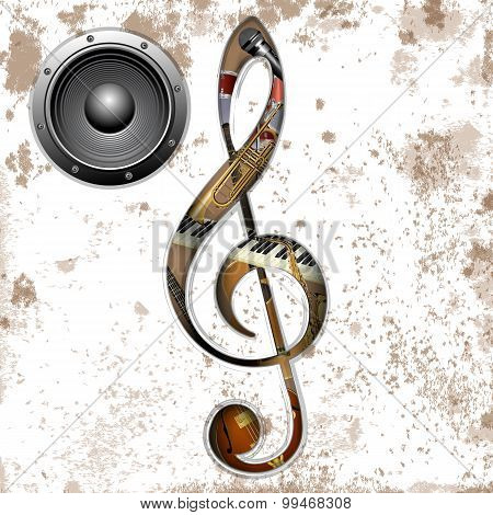 Musical Instruments In The Hole Treble Clef