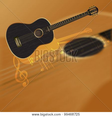 Musical Background With A Blurred Guitar