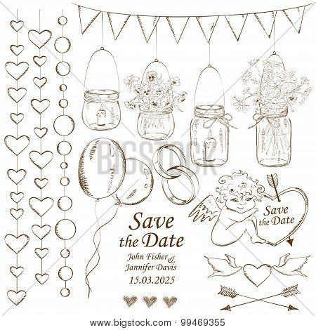 Set Of Wedding Decoration Elements