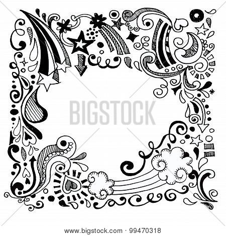 Abstract Hand Drawn Doodle Design Elements Black And White Background