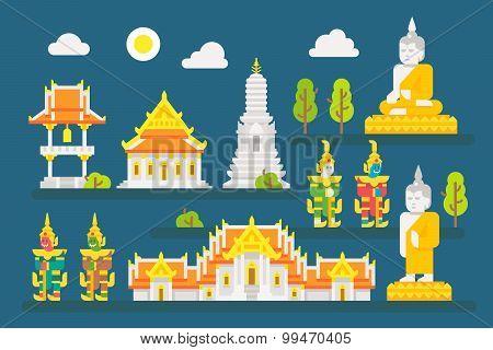 Thailand Temple Infographic Elements Set