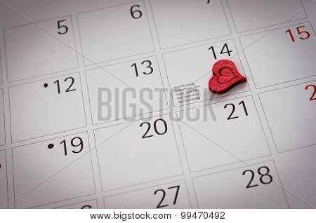 Two Hearts On Calendar - Valentine's Day