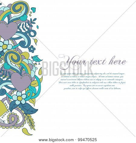 Abstract Vector Decorative Nature Background. Template Frame Design For Card. Floral  Elements.