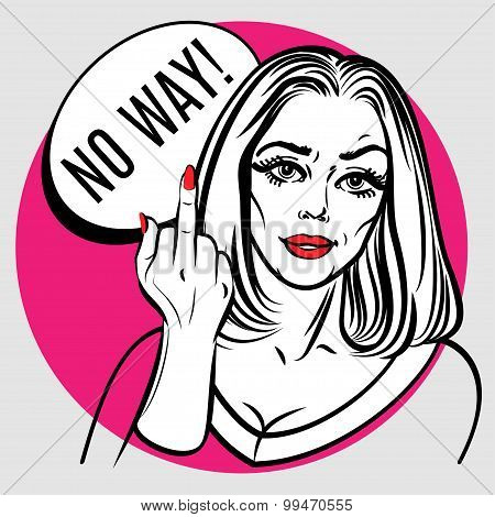 Beautiful Woman Showing Middle Finger. Pop Art Poster.