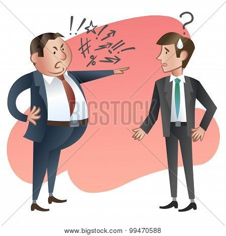 Angry Boss With Employee. Vector Illustration.