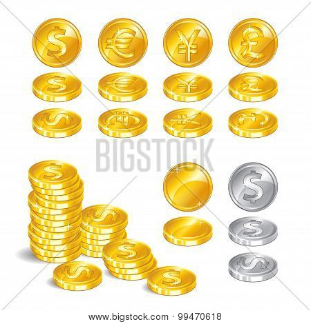Gold Coins, Signs World Currencies, A Symbol Of Wealth On White Background.