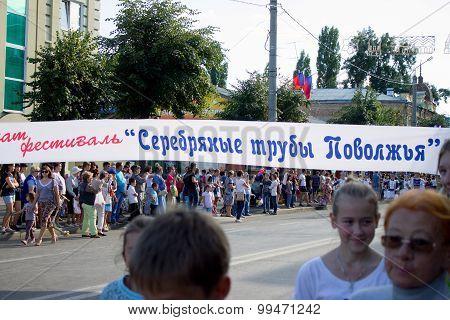 Syzran, Russia - August 22: Festival Silver Trumpets Volga And Tomato Feast.