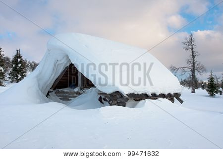 Snow-covered Hut