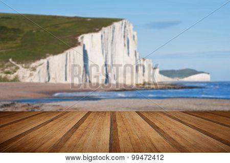 Sven Sisters Cliffs South Downs England Landscape With Wooden Planks Floor