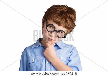 Portrait of handsome boy in round glasses thinking about something. Isolated on white background