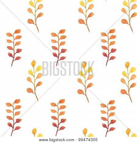 Autumn branches and leaves seamless vector watercolor pattern
