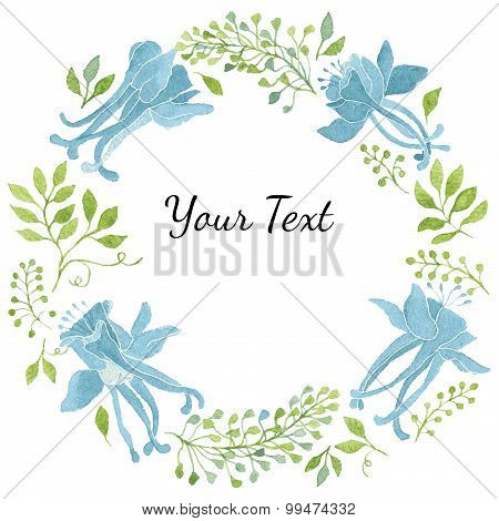 Watercolor Floral Wreath With Green Leaves and Blue Flowers