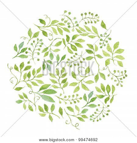 Watercolor Green Leaves Tag