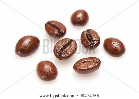Coffee beans isolated on the white