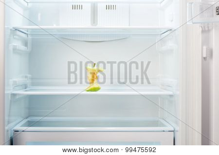 Apple core on shelf of open empty refrigerator