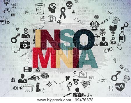 Medicine concept: Insomnia on Digital Paper background