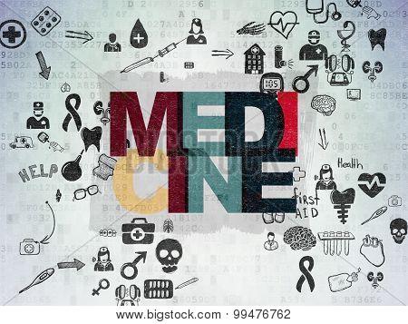 Healthcare concept: Medicine on Digital Paper background