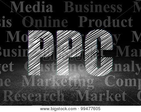 Marketing concept: PPC in grunge dark room