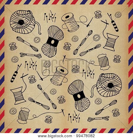 Sewing Doodle Hand Drawn Vintage Airmail