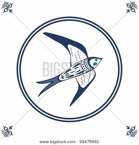 Dutch blue tile with swallow