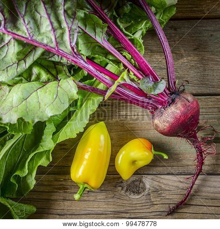 fresh vegetables: beets and peppers