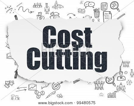Business concept: Cost Cutting on Torn Paper background