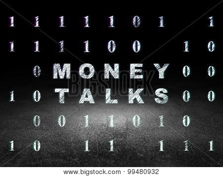 Finance concept: Money Talks in grunge dark room