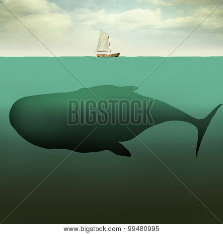 The Little Boat And The Giant Whale