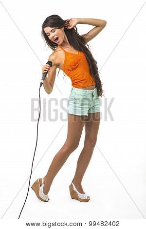 Pretty girl with the microphone.