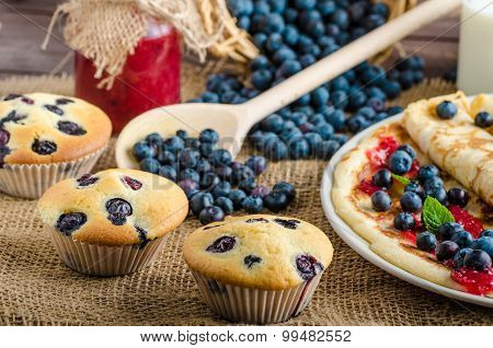 Blueberry Muffins And Pancakes