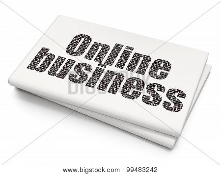 Finance concept: Online Business on Blank Newspaper background