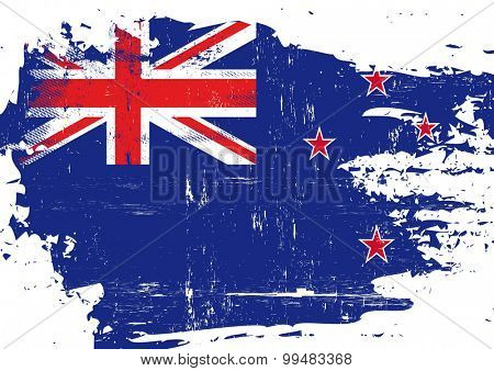 Scratched New zealand Flag. A flag of New zealand with a grunge texture