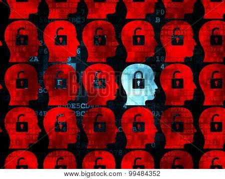 Security concept: head with padlock icon on Digital background