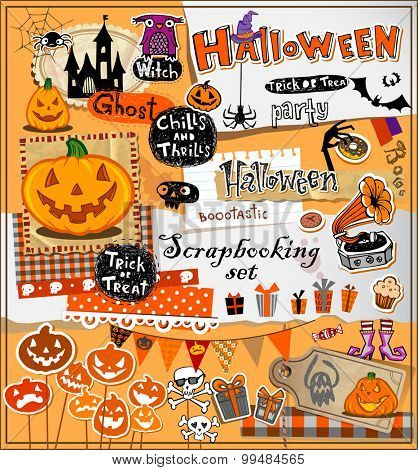 Halloween scrapbook elements in vector format