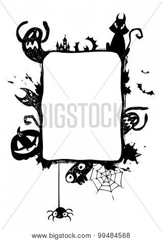 Halloween vector frame with silhouettes of bats, cat, jack o lantern