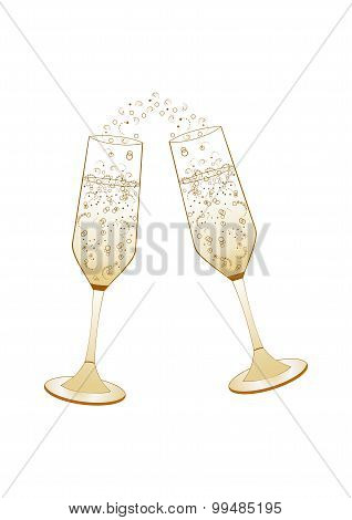 Abstract champagne glasses vector illustration
