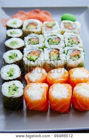 Sushi Maki and Niguiri California roll and wasabi