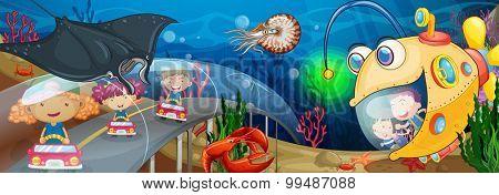 Children riding in tunnel underwater illustration