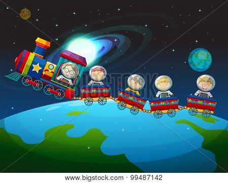 Children riding train in space illustration