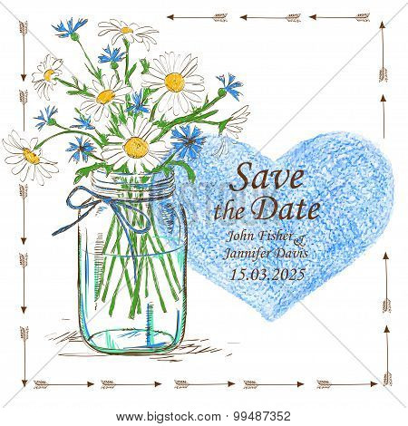 Wedding Invitation With Mason Jar And Camomile Flowers