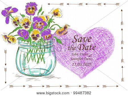 Wedding Invitation With Mason Jar And Pansy Flowers
