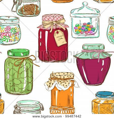 Colorful Seamless Pattern Of Mason Jars.