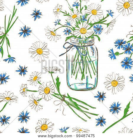 Seamless Pattern With Chamomile And Cornflowers.