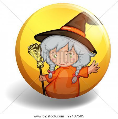 Witch with a broom on yellow badge illustration