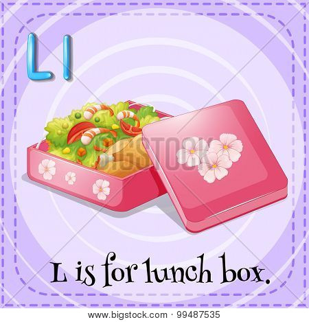 Alphabet L is lunch box illustration