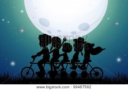 Silhouette people riding bike at night illustration