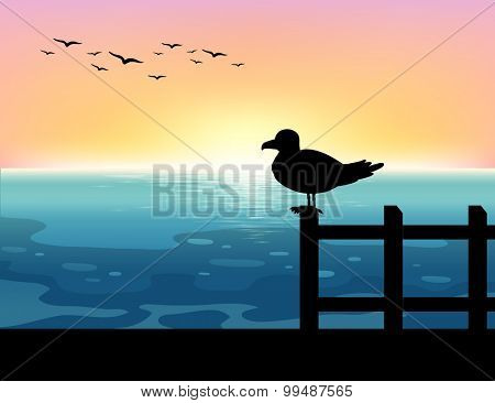 Silhouette bird at sea illustration